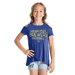 Girls New Era Milwaukee Brewers Cold Shoulder Foil Tee