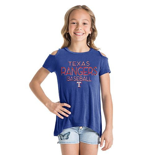 Girls New Era Texas Rangers Cold Shoulder Foil Tee