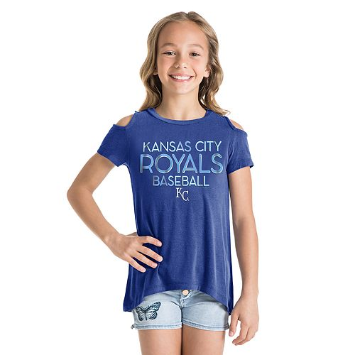 Girls New Era Kansas City Royals Cold Shoulder Foil Tee