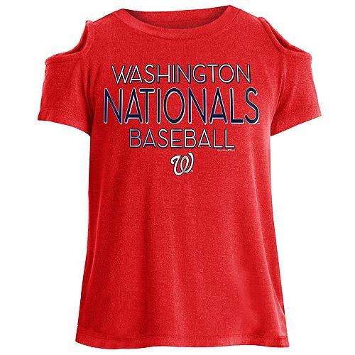 Girls New Era Washington Nationals Cold Shoulder Foil Tee