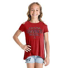 Girls New Era Arizona Diamondbacks Cold Shoulder Foil Tee