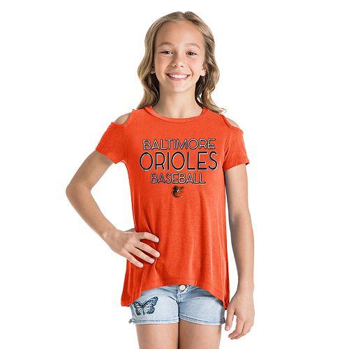 Girls New Era Baltimore Orioles Cold Shoulder Foil Tee