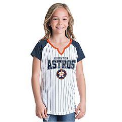 Girls New Era Houston Astros Notch Neck Raglan Jersey Tee