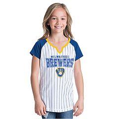 Girls New Era Milwaukee Brewers Notch Neck Raglan Jersey Tee