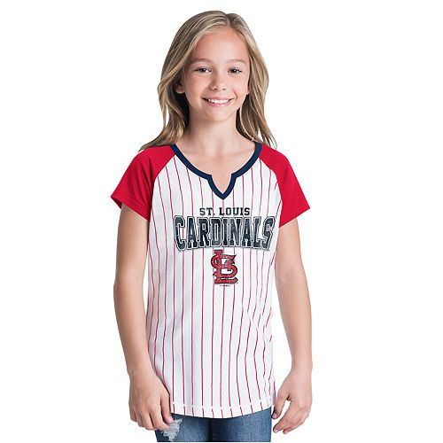 Girls New Era St. Louis Cardinals Notch Neck Raglan Jersey Tee