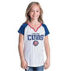 Girls New Era Chicago Cubs Notch Neck Raglan Jersey Tee