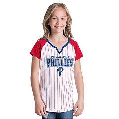Girls New Era Philadelphia Phillies Notch Neck Raglan Jersey Tee