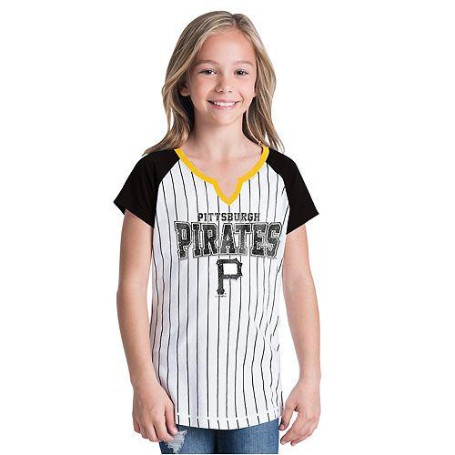 Girls New Era Pittsburgh Pirates Notch Neck Raglan Jersey Tee