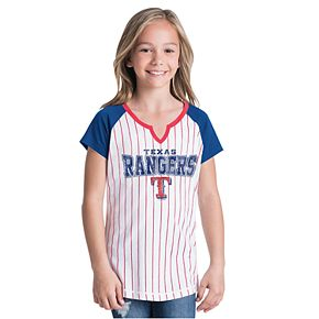 Girls New Era Texas Rangers Notch Neck Raglan Jersey Tee