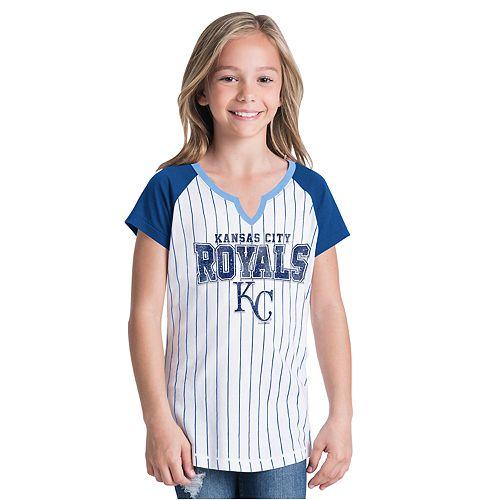 Girls New Era Kansas City Royals Notch Neck Raglan Jersey Tee
