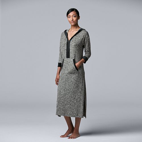 Women's Simply Vera Vera Wang 3/4 Sleeve Hooded Maxi Sleepshirt