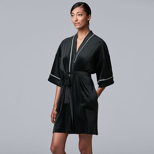 Women's Simply Vera Vera Wang 3/4 Sleeve Stretch Velour Robe