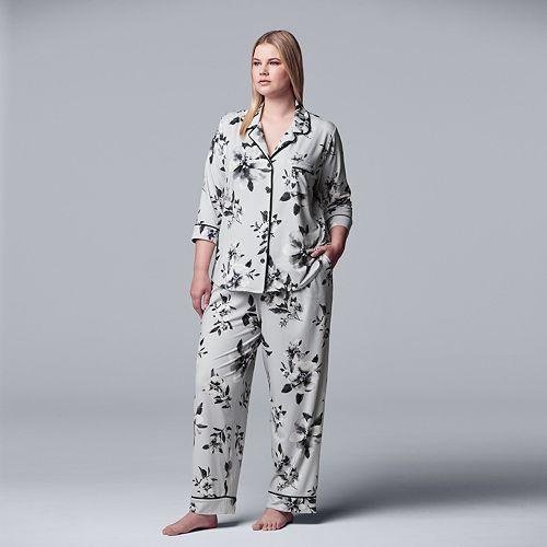 Women's Simply Vera Vera Wang 3/4 Sleeve Notch Collar PJ Set