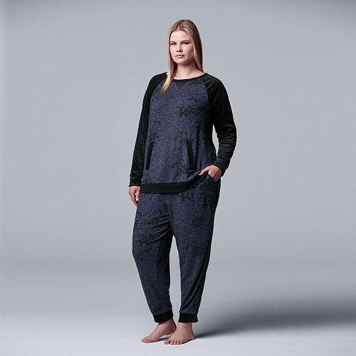 Women's Simply Vera Vera Wang Long Sleeve Top & Jogger Set