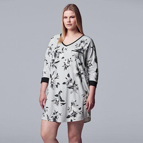 Women's Simply Vera Vera Wang 3/4 Sleeve Sleepshirt