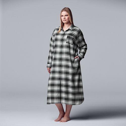 Women's Simply Vera Vera Wang Long Sleeve Flannel Maxi Sleepshirt