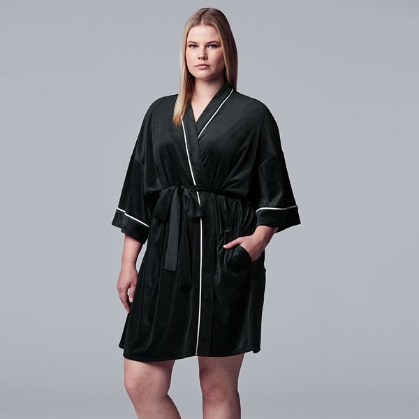 Women S Simply Vera Vera Wang 3 4 Sleeve Stretch Velour Robe