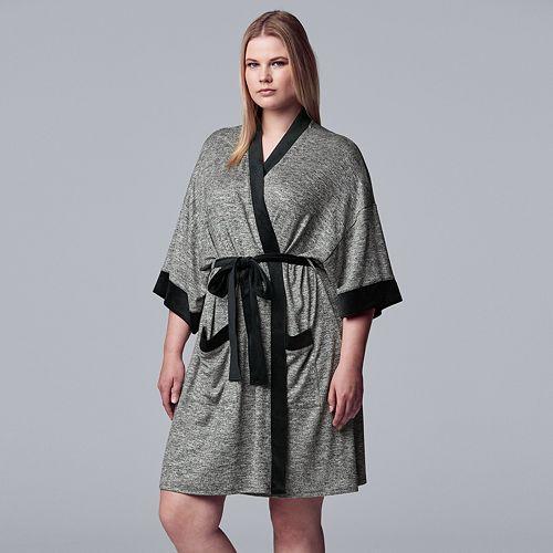 Women's Simply Vera Vera Wang 3/4 Sleeve Marled Jersey Robe