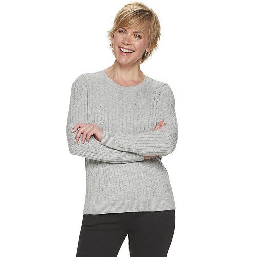 Women's Croft & Barrow Essential Cable-Knit Crewneck Sweater