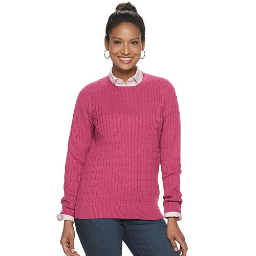 Women's Croft & Barrow Essential Cable-Knit Crewneck Sweater