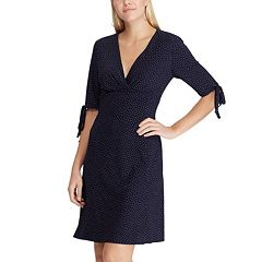 Women's Chaps Dot Surplice Dress