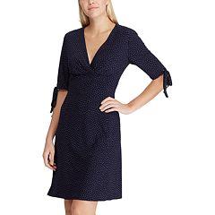 Petite Chaps Dot Surplice Dress