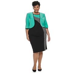 Plus Size Maya Brooke Asymmetrical Stripe Dress & Jacket Set