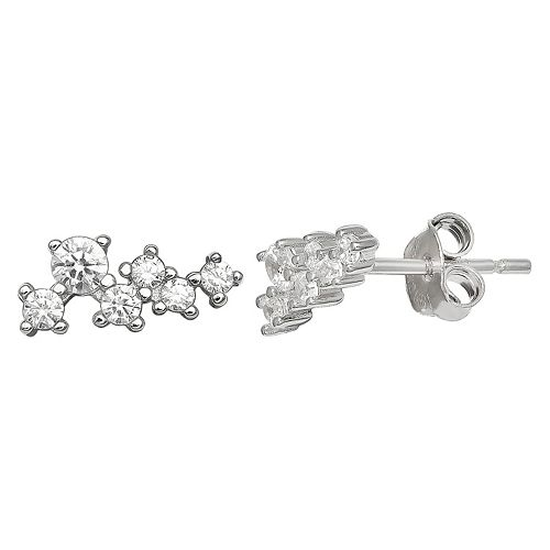 PRIMROSE Sterling Silver Cluster Cubic Zirconia Stud Earrings