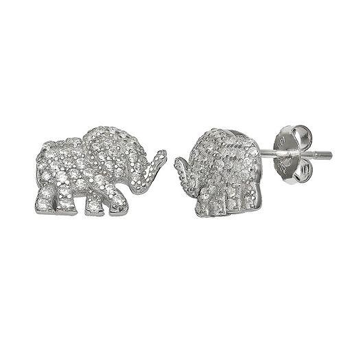 PRIMROSE Sterling Silver Cubic Zirconia Elephant Stud Earrings