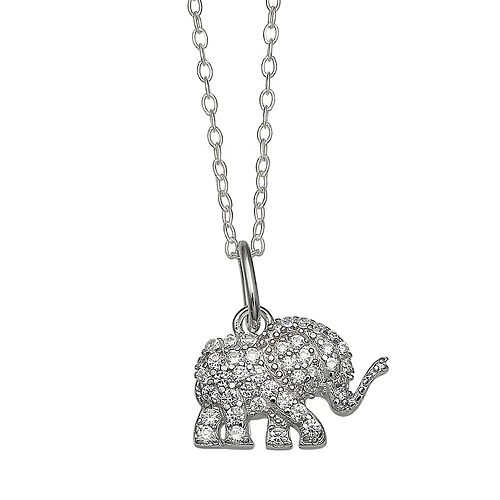 PRIMROSE Sterling Silver Cubic Zirconia Elephant Pendant Necklace