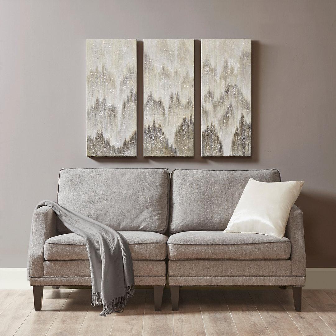 Madison Park Sterling Mist Canvas Wall Art 3 Piece Set Kohls