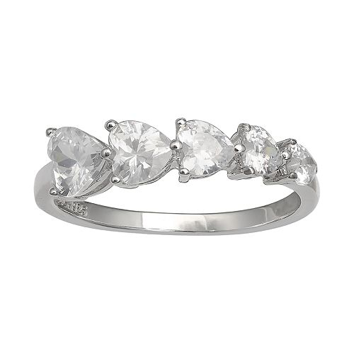 PRIMROSE Sterling Silver Cubic Zirconia Graduated Heart Ring