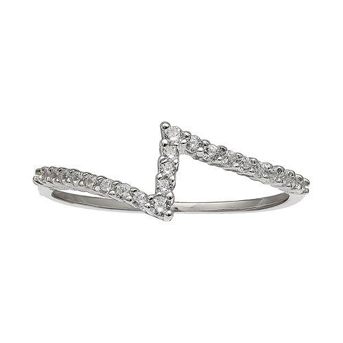 PRIMROSE Sterling Silver Cubic Zirconia Zig Zag Ring