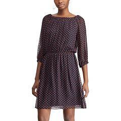Women's Chaps Polka-Dot Blouson Dress