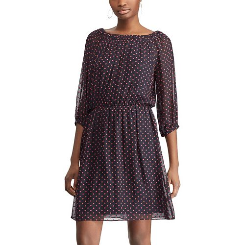 Women's Chaps Polka-Dot Blouson Dress