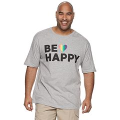 Big & Tall Family Fun 'Be Happy' Rainbow Pride Graphic Tee