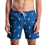 Men's Cole Blue Novelty Printed Swim Trunks