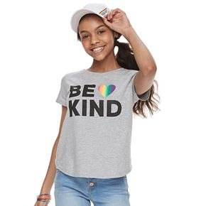 "Girls 7-16 Family Fun? ""Be Kind"" Rainbow Pride Graphic Tee"