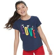 "Girls 7-16 Family Fun Peanuts Snoopy ""Love"" Graphic Tee"