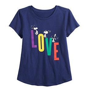 "Girls 7-16 Family Fun? Peanuts Snoopy ""Love"" Graphic Tee"