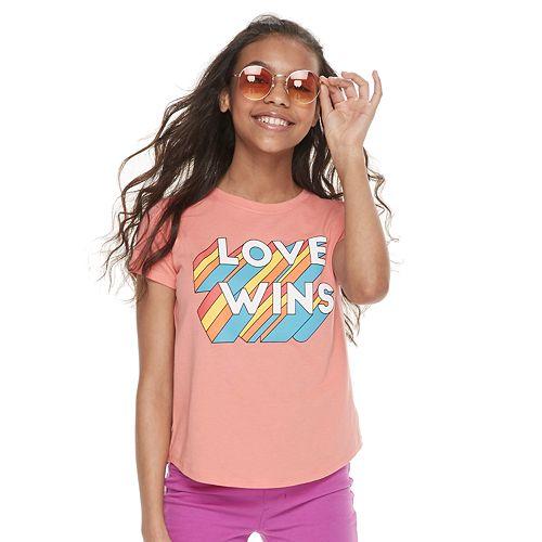 "Girls 7-16 Family Fun™ ""Love Wins"" Rainbow Pride Graphic Tee"