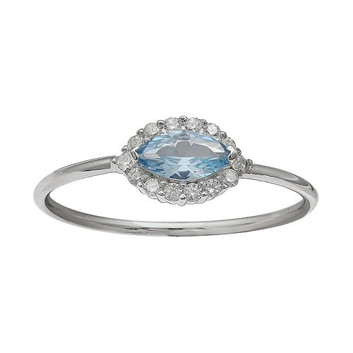 Women's Primrose Sterling Silver Pave Cubic Zirconia Marquise Center Stone Ring