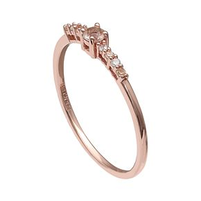 PRIMROSE 18k Rose Gold Over Silver Cubic Zirconia Ring