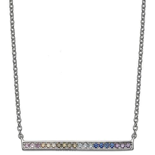 PRIMROSE Sterling Silver Rainbow Cubic Zirconi Bar Necklace