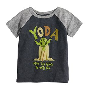 """Toddler Boy Jumping Beans® Star Wars Yoda """"May The Force Be With You"""" Raglan Tee"""