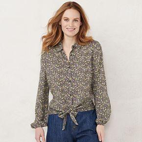 Women's LC Lauren Conrad Knot-Hem Button-Down Shirt