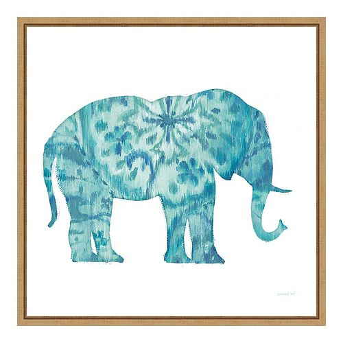 Amanti Art Boho Teal Elephant I Framed Wall Art