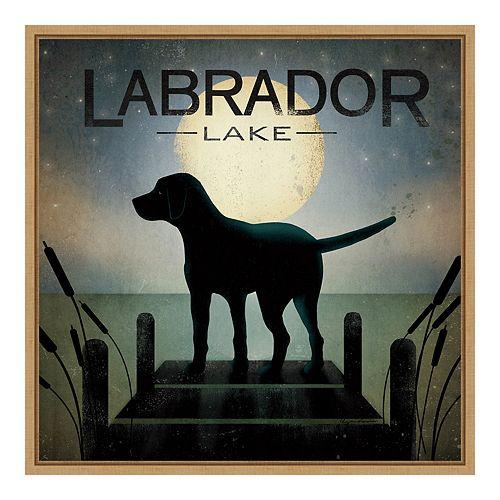 Amanti Art Framed 'Moonrise Black Dog - Labrador Lake' by Ryan Fowler Wall Art