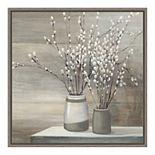 Amanti Art Pussy Willow Still Life Gray Pots Crop Framed Canvas Art
