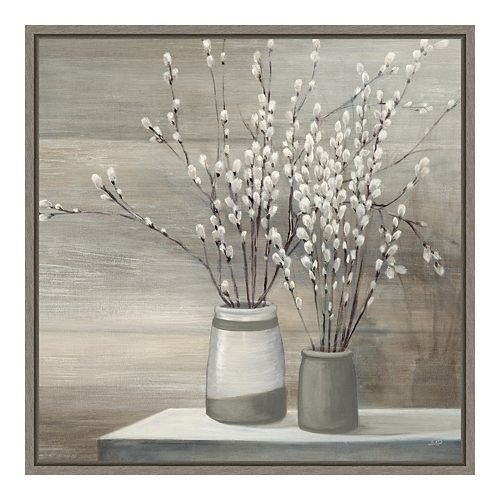 Amanti Art Pussy Willow Still Life Gray Pots Crop Framed Canvas Art
